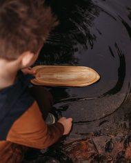 wooden toy boat canoe 3